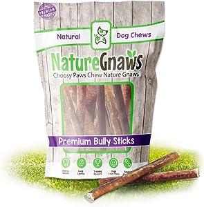 Nature Gnaws Bully Sticks 6 in.- Premium Beef Dog Chew Treats – Rawhide Alternative Long Lasting Bones – Simple Natural Delicious