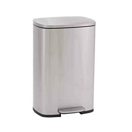 Design Trend Rectangular Stainless Steel Step Trash Can With Soft Close Lid 50 Liter 13 Gallon Silver