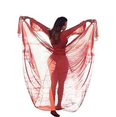 da7daecb0d Women s Long Swimsuit Cover up Beach Swimwear Bikini Coverups Cardigan with  Belt (Orange