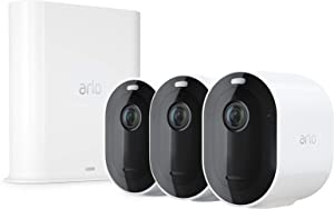 Arlo Pro 3 Spotlight Camera | 3 Camera Security System | Wire-Free, 2K Video & HDR | Color Night Vision, 2-Way Audio, 6-Month Battery Life, Motion Activated, 160° View | Works with Alexa | White