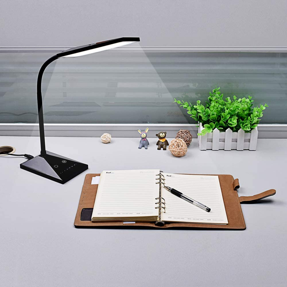Aiibe Desk Lamp Black LED Reading Light Dimmable Office Home Table Lamp with USB Charging Port
