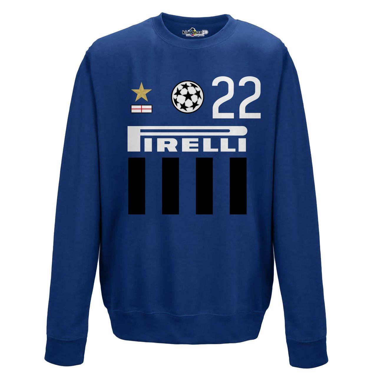 KiarenzaFD Felpa Girocollo Calcio Vintage Diego Inter 22 Milito Stagione 09-10 Champion KFG01954