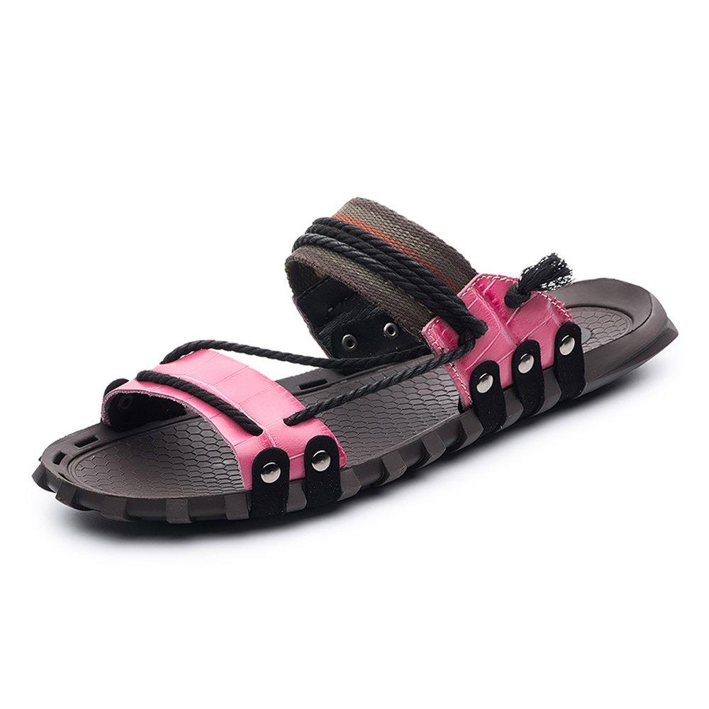 Zapatillas para Hombre Zapatillas de Playa de Cuero Genuino Sandalias Informales Zapatillas de Cáñamo Antideslizantes de Cáñamo,para los Hombres 47 EU|Pink