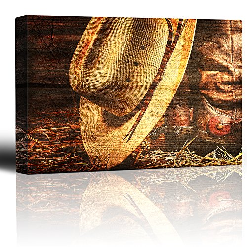 Hat and Boots on Straw Hat and Spurred Boots on a Wood Texture Country and Western Rural Style