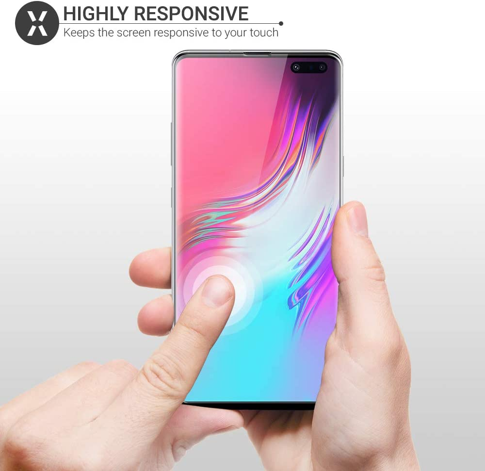 Case Friendly Protection Olixar for Samsung Galaxy S10 5G Screen Protector PET Curved Protection Application Card /& Cleaning Cloth Included Easy Application