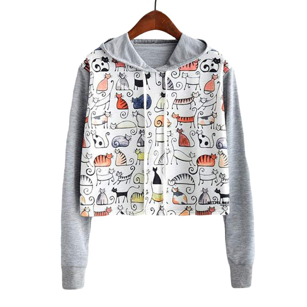 Amazon.com : Joopee Women Casual Long Sleeve Cut Cat Print Hooded Fashion Sweatshirt Top Blouse : Sports & Outdoors