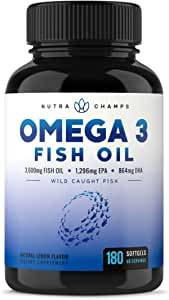Omega 3 Fish Oil 3600mg, 180 Capsules - EPA 1296mg, DHA 864mg Fatty Acids - Omega-3 Burpless Pills - Highest Concentration Available for Joint Support, Immune, Heart Health, Brain, Eyes, Skin