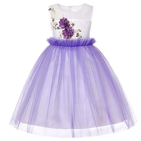 KEoly - Vestido de Princesa para niña, Vestido sin Mangas con ...