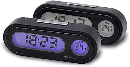 MASO Car Digital Clock Thermometer Car Interior Decoration Car Electronic Clock Voltage Meter Red