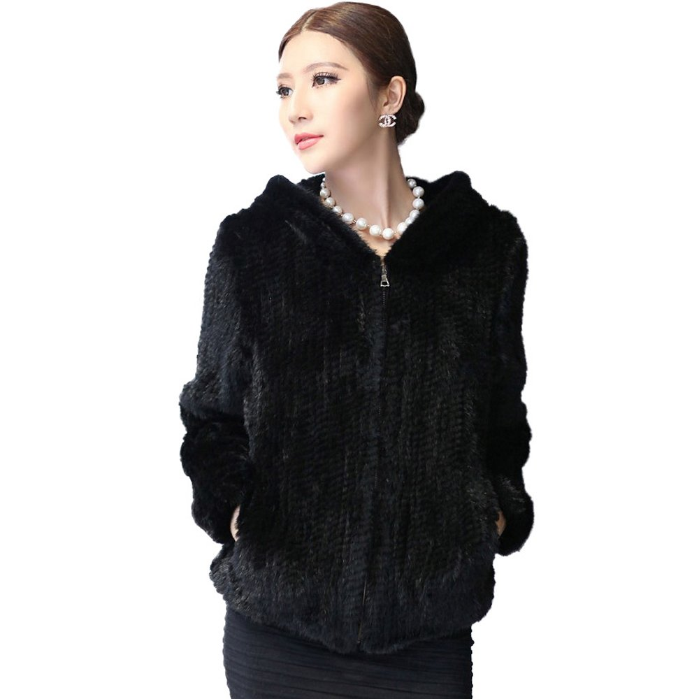 Women's Knitted Real Mink Fur Coat with Fur Hood Thick Warm Coat Full Sleeve V Neck US 10 (Black) - Fur Story