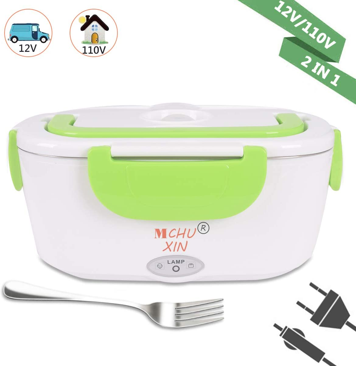 Electric Heating Lunch Box 2 in 1,Car and Home Use Portable Lunch Heater, Removable Stainless Steel Container Food Grade Material 110V and 12V (Green)