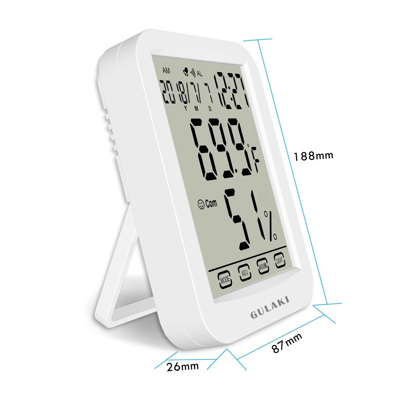 Termómetro de humedad interior, Termo-higrómetro digital GULAKI con panttalla retroiluminada grande, monitorea temperatura y humedad para mayor comodidad en el hogar y la oficina, registros mín. / Máx., Baterías incluidas