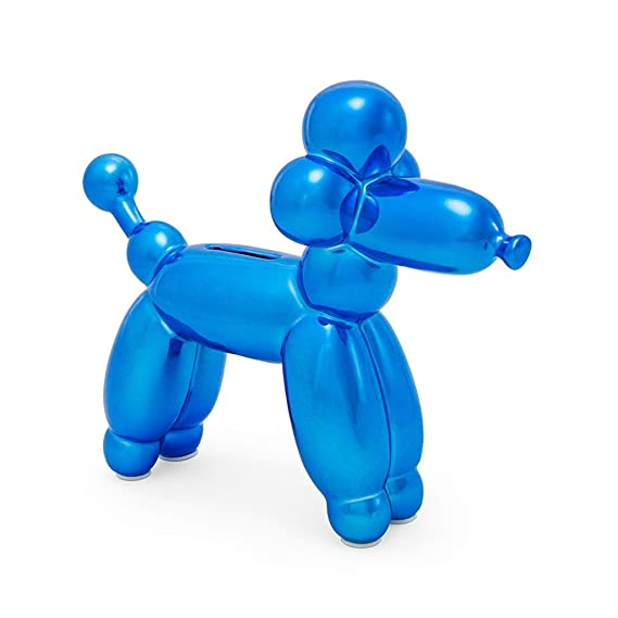 Made By Humans Balloon French Poodle Money Bank - Unique Animal-Shaped Ceramic Piggy Bank for Newborn Baby, Young Children, Adults, Blue
