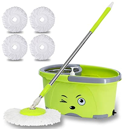 TAVISH Mop Bucket Magic Spin Mop Bucket Double Drive Hand Pressure Stainless Steel Mop with 2 Microfiber Mop Head Household Floor Cleaning & 4 Color May Vary