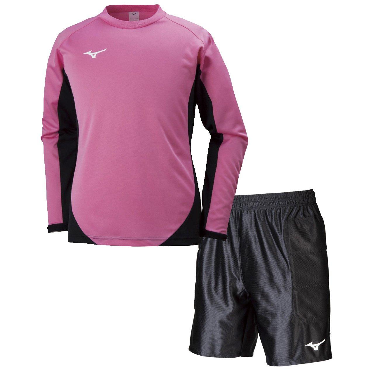 ミズノ(MIZUNO) キーパーシャツ&キーパーパンツ 上下セット(ピンク/ブラック) P2MA8075-65-P2MB8075-09 B079YQL3GJ L|ピンク/ブラック ピンク/ブラック L