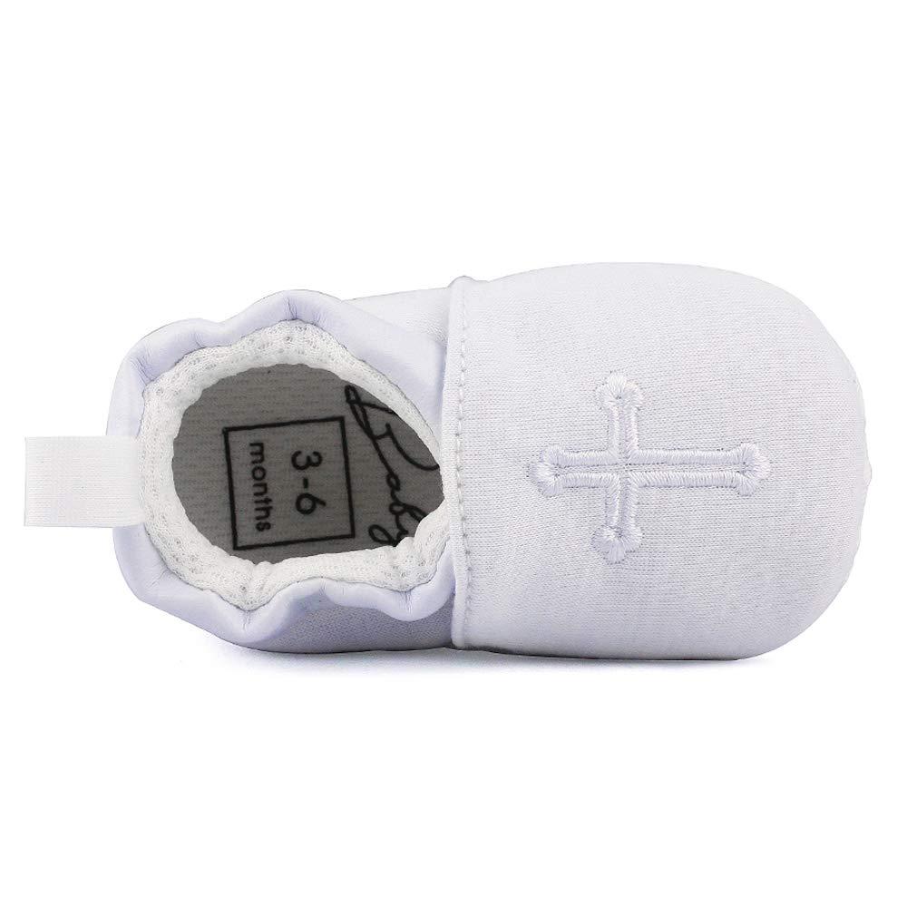 Baby Boys Girls Premium Soft Sole Christening Baptism Church Cross Slipper Crib Shoes, 3-6 Months by Estamico (Image #3)