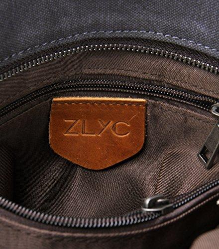 ZLYC, Borsa a spalla donna Grigio scuro Width 37 cm, height 27 cm, thickness 12 cm