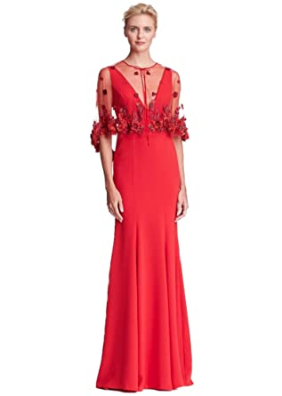 5bdd2d343b Marchesa Notte Women's Sleeveless 2-Piece Crepe Evening Gown w/Cape 2 Red  at Amazon Women's Clothing store: