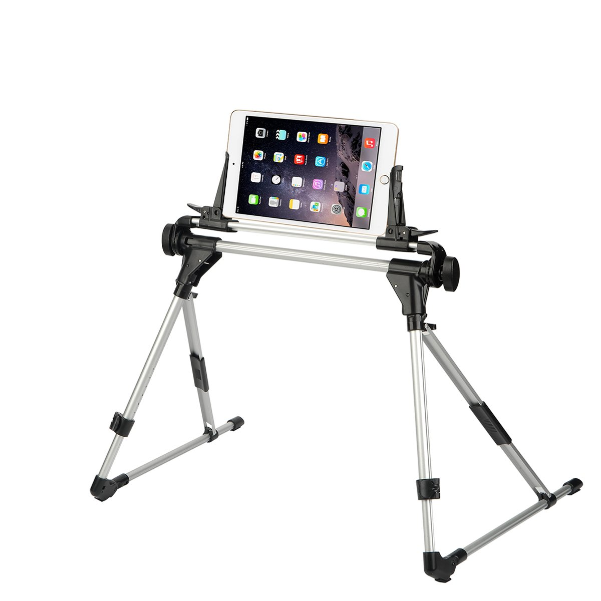 ieGeek Tablet Phone Stand for Bed Sofa Desk, Adjustable and Foldable Holder Fit for iPad iPhone Cellphone Tablet Kindle in Bedroom Kitchen Floor, Aluminum