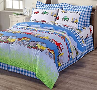 6-Piece Kids Cars Bus Tractor Bed In A Bag Comforter Set & Sheet Set, Twin