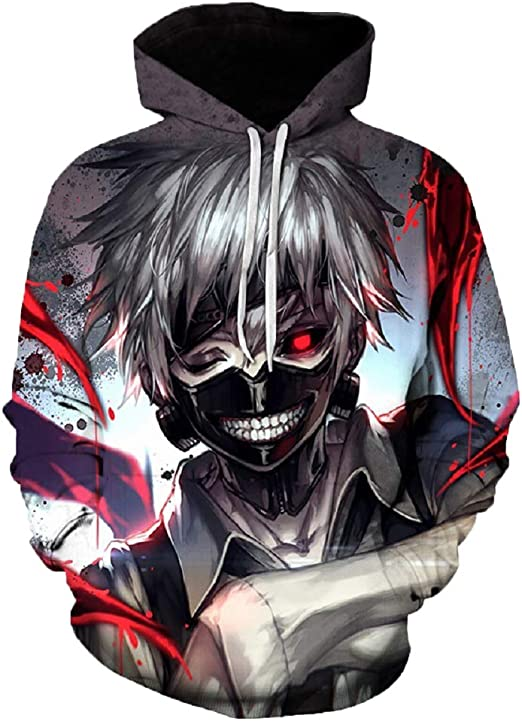 Men Women Tokyo Ghoul Japan Anime 3D Print Casual Hoodie Sweatshirt Jumper Coat