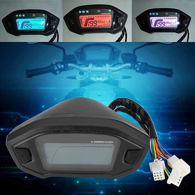 Keenso Motorrad Tacho Universal Lcd Digital Motorrad Geschwindigkeitsmesser Mph Tachometer Bunte Geschwindigkeitsmesser Entfernungsmesser Mit Geschwindigkeits Sensor Auto