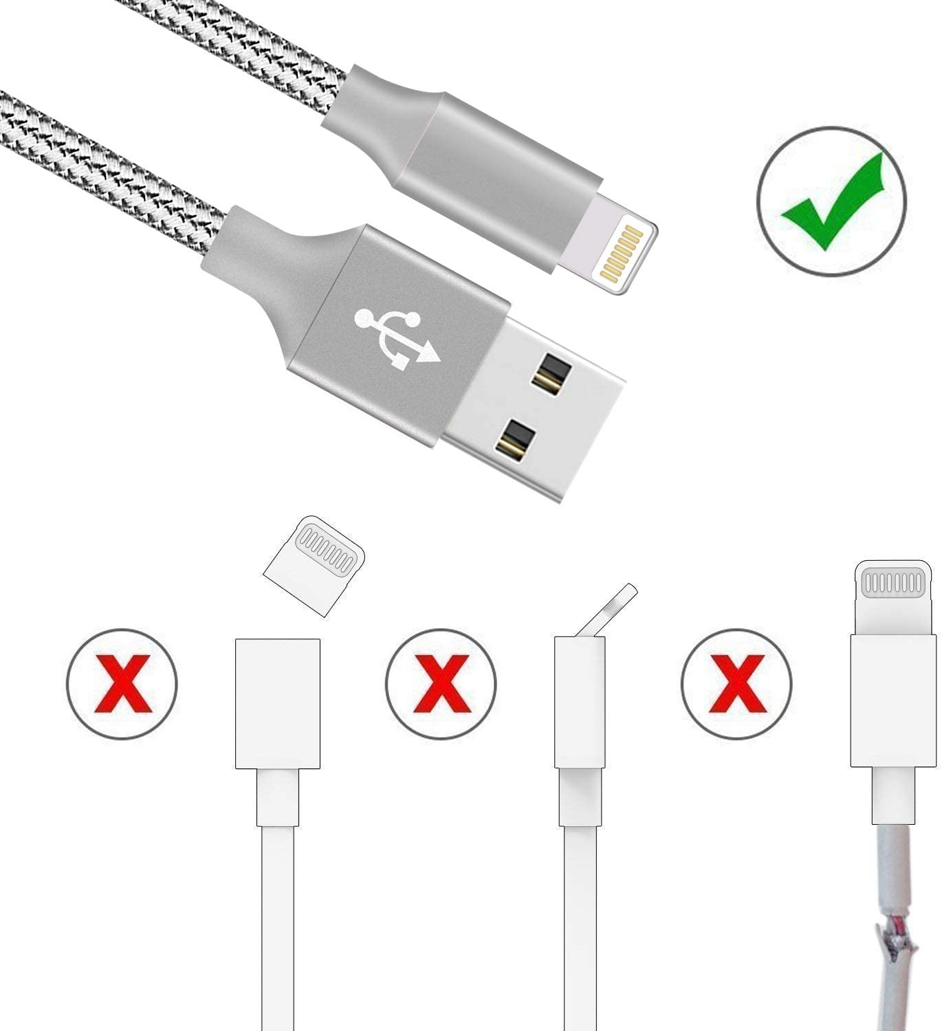 AQP Phone Charger 4 Pack 36610FT Nylon Braided Fast Charging /& Syncing Cord Long Charging Cable Compatible Phone Xs//Max//XR//X//8//8Plus//7Plus//6S//6S Plus//Pad-114