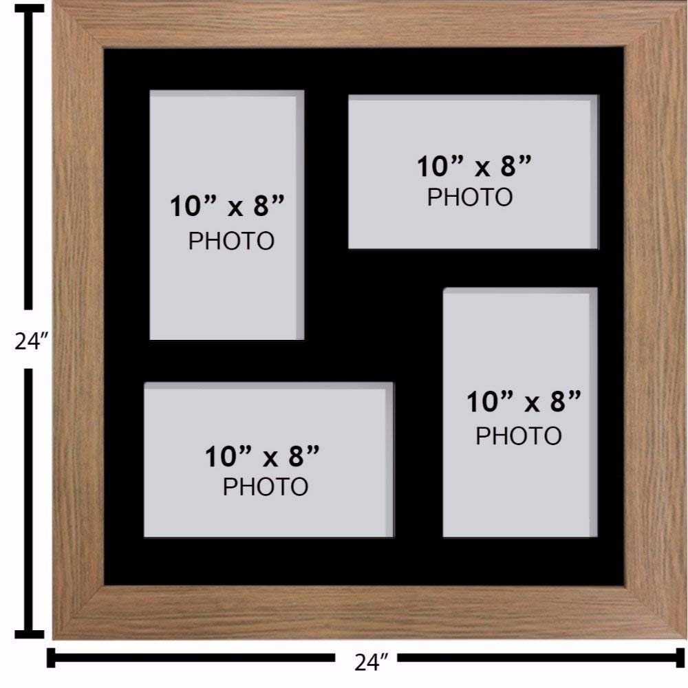 Large Multi Picture Photo Aperture Frame 25.4cm x 20.32cm Size with 4 Openings in Black Mount, Choices of Frames