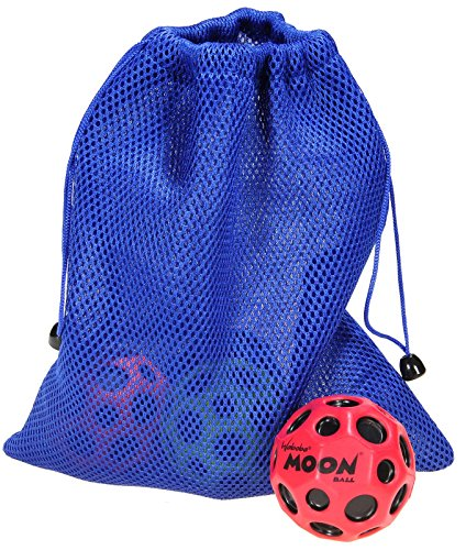 Waboba MOON Extreme Bounce Bundle of 4 Balls _ in 4 Neon Colors _ BONUS Soft Nylon Net Drawstring 9 x 12'' Royal Blue Carry Bag by Waboba (Image #2)