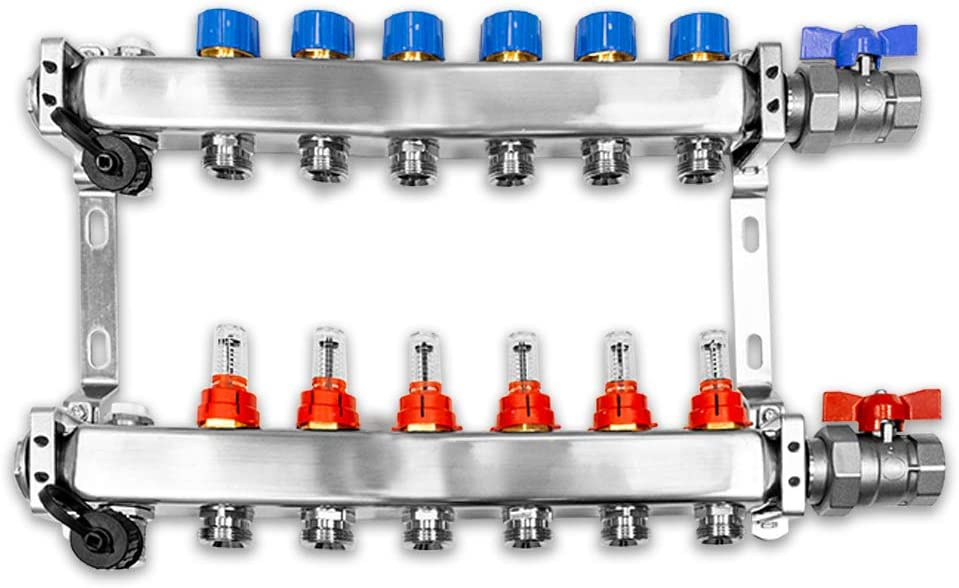 Verteiler f/ür Fu/ßbodenheizung inkl waagerechter Anschlussgarnitur Set 3 Heizkreise