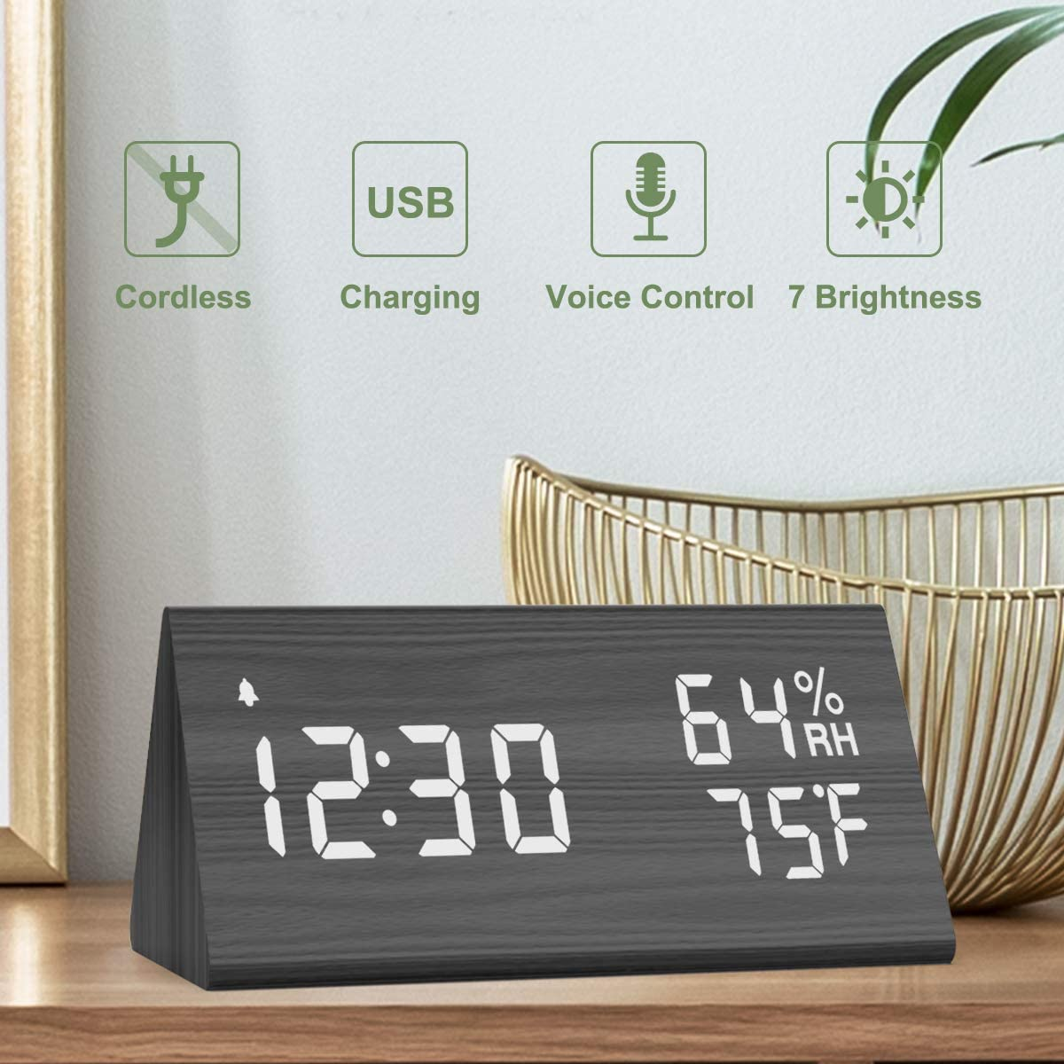 Nicewell Wooden Digital Alarm Clock USB Charging, 3 Alarms LED Display, Sound Control and Snooze Dual for Bedroom, Bedside, Office