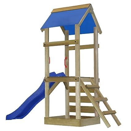 Festnight Wooden Playhouse Set Ladder Slide Swing Set Slide Ladder