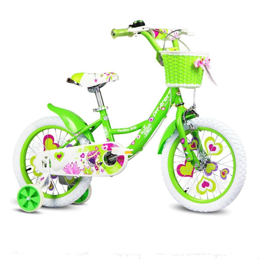DGF 子供の自転車16/14/12/18インチの女の子の自転車2-8子供のベビーカー (色 : 緑, サイズ さいず : 16 inches) B07F1G4TSW緑 16 inches