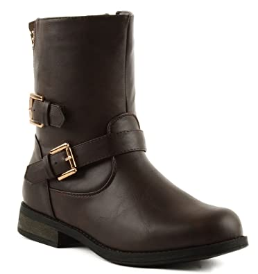 Sevilla-65 Womens Ankle High Faux Nubuck Studded Fashion Boots With Buckles Black