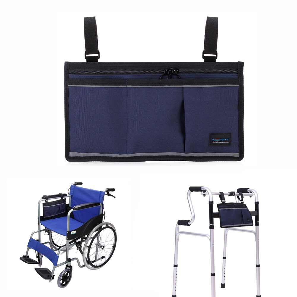 Walker Bag Wheelchair Electric Scooter Bag Travel Carry Bag Pouch Armrest Side Organizer Mesh Storage Cover - Fits Most Bed Rail, Scooters, Walker, Power & Manual Electric Wheelchair (Dark Blue)