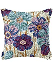 LAPATAIN Latch Hook Kits for DIY Throw Pillow Cover,Purple Flowers Pattern Needlework Cushion Cover Hand Craft Crochet for Great Family 16.5x16.5inch