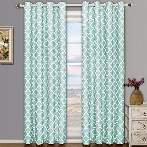 Meridian Teal Grommet Room Darkening Window Curtain Panels, Pair / Set of 2 Panels, 52x96 inches Each, by Royal Hotel (Teal Silver Curtains)