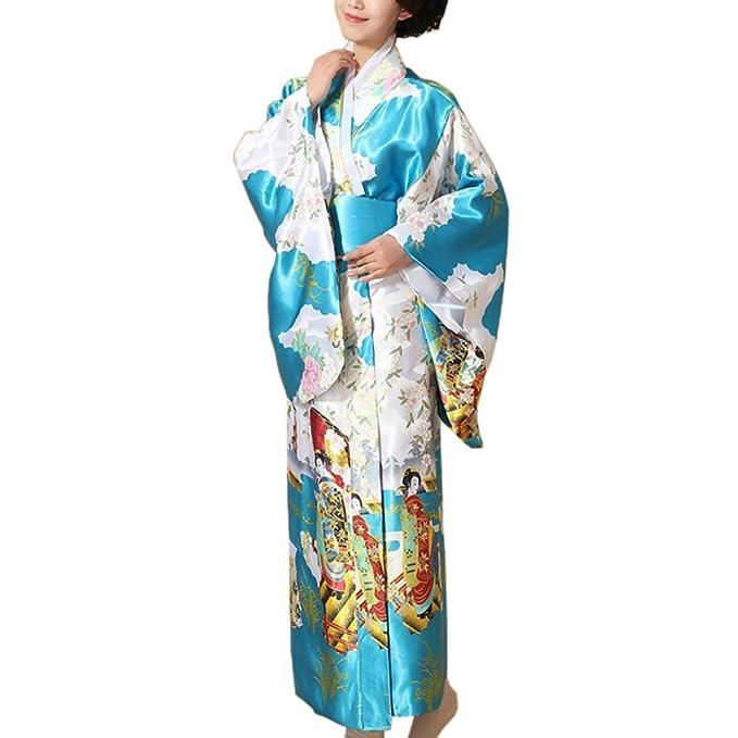 Kimono Estampado Floral japonés Yukata Cosplay Ladies Party Ropa de Dormir, F