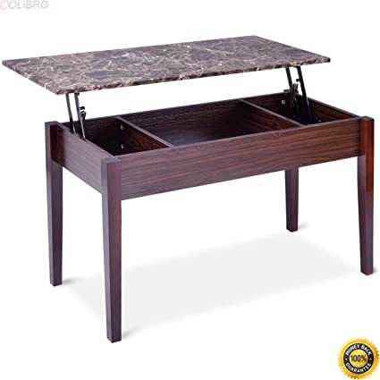 Amazon Com Colibrox Faux Marble Lift Top Coffee Table W Hidden