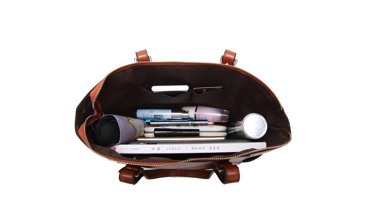 Women's Vintage Fine Fibre Genuine Leather Bag Tote Shoulder Bag Handbag Model Pocket Black by AMAIA DURAN (Image #6)