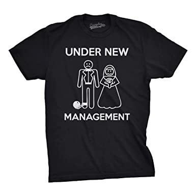 Amazon.com: Mens Under New Management Funny Wedding Bachelor Party ...