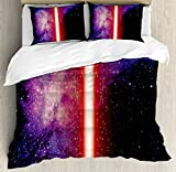 Galaxy Duvet Cover Set by Ambesonne, Famous Movie Weapon Fantastic Galaxy War between Enemies Theme Sword with Red Light, 3 Piece Bedding Set with Pillow Shams, Queen / Full, Black