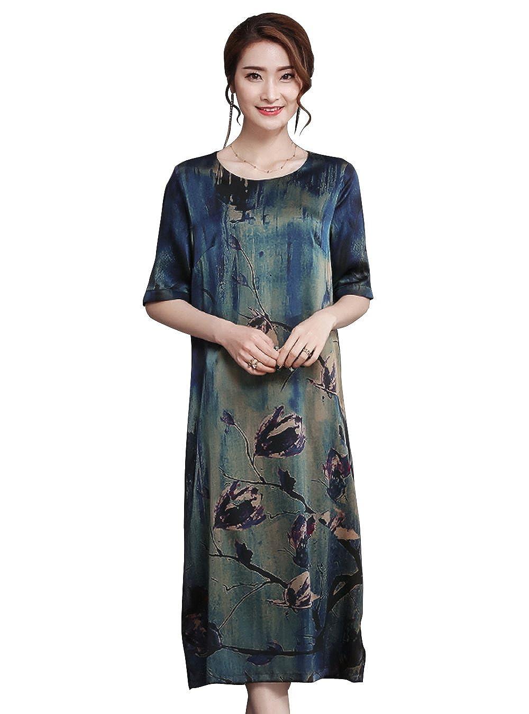 0392cce9a8c620 LAI MENG Vintage Damen Sommerkleid mit Blumenmuster Elegant 1 2 Ärmel  Rundhals Knielang A-Linie Midikleid  Amazon.de  Bekleidung