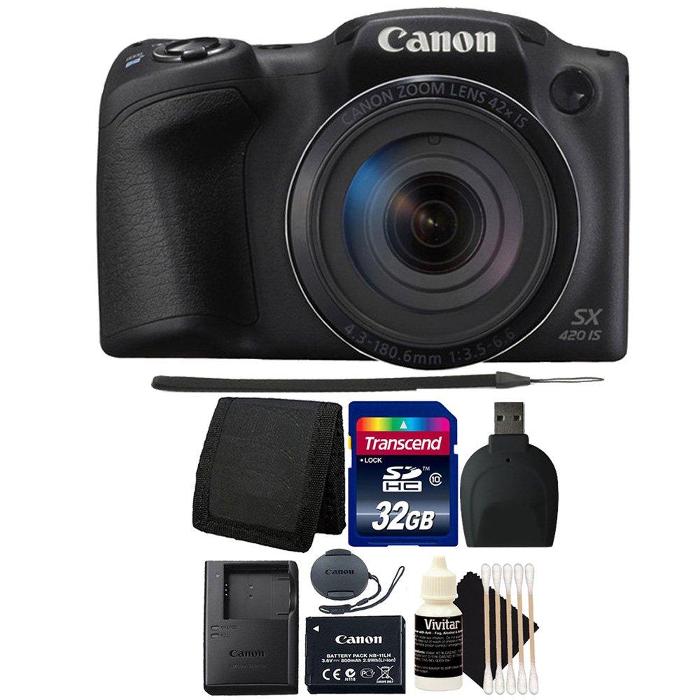 Canon PowerShot sx420 is 20.0 MPデジタルカメラ(ブラック) + 32 GBメモリカード+財布+リーダー+ 3個クリーニングキット   B0743MB9VH
