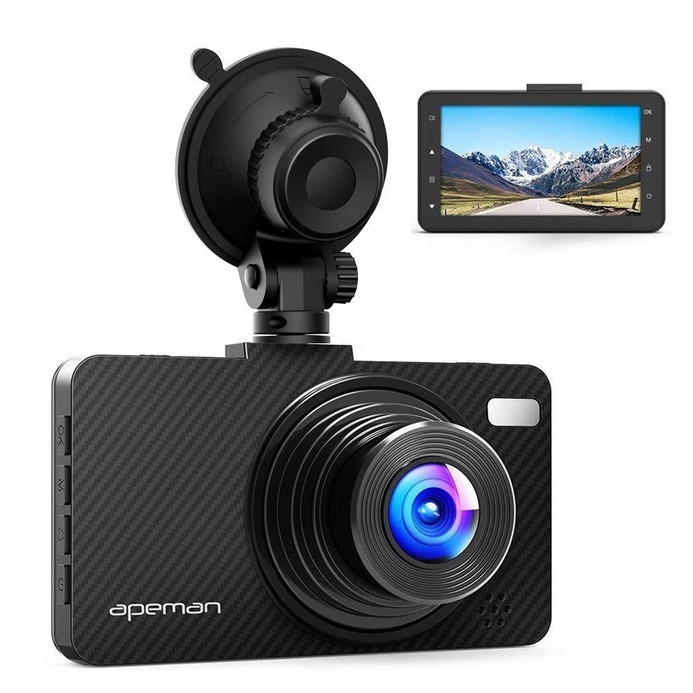 APEMAN Dash Cam Dashboard FHD 1080P Car Camera DVR Recorder with 3.0'' LED Screen, Super Night Vision, G-Sensor, WDR, Loop Recording, Motion Detection by APEMAN