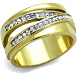 YourJewelleryBox TK1914pb WOMENS BAND WIDE CZ RING CUBIC ZIRCONIA WOMENS 18KT STAINLESS STEEL