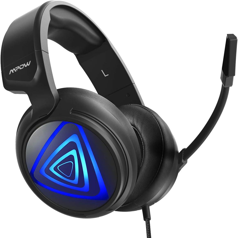 Auriculares Gaming PS4 LED, Mpow-318 Sonido Envolvente 7.1, Casco Gaming PC, Micrófono de Reducción de Ruido, para Nintendo Switch, PC, Xbox One, 50mm Conductor, Cable de 2.2m, Control de Volumen