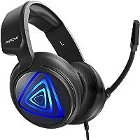 Auriculares Gaming PS4 LED, Mpow-318 Sonido Envolvente, Casco Gaming PC, Micrófono de Reducción de Ruido, para Nintendo Switch, PC, Xbox One, 50mm Conductor, Cable de 2.2m, Control de Volumen