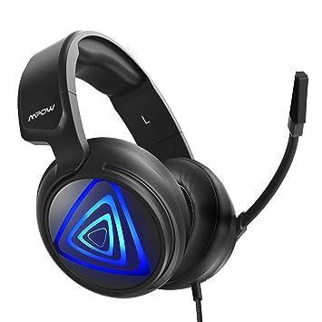 Auriculares Gaming PS4 LED, Mpow-318 Sonido Envolvente 7.1, Casco Gaming PC, Micrófono de Reducción de Ruido, para Nintendo Switch, PC, Xbox One, 50mm ...