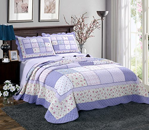 Alicemall Pastoral Bed in a Bag Ultra Soft Countryside Checkered Purple Bedspread/ Quilt Set, Patchwork Floral Coverlet Set, 3 Pieces, Queen Size (Purple)